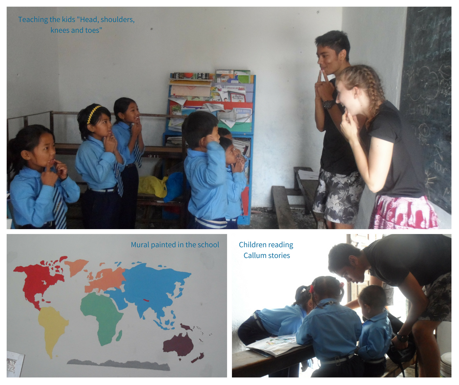 Working with children on World Challenge Trip Nepal 2018